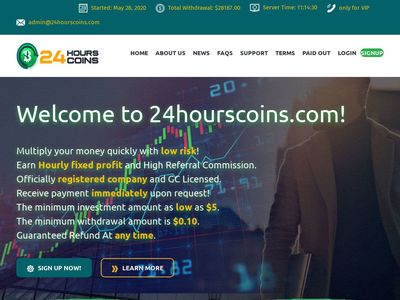 [PAGANDO] 24hourscoins.com - Min 5$ (Hourly For 96 Hours) RCB 80% 24hourscoins.com