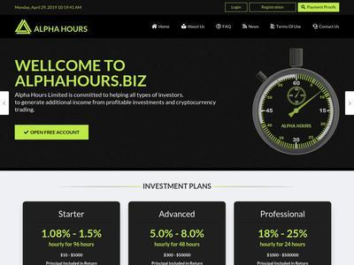 [SCAM] alphahours.biz - Min 10$ (Hourly For 96 Hours) RCB 80% Alphahours.biz