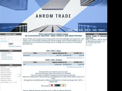 [SCAM] ANROM - anrom.trade - RCB 80% - 102% depues 1 dia - Min 10$ Anrom.trade
