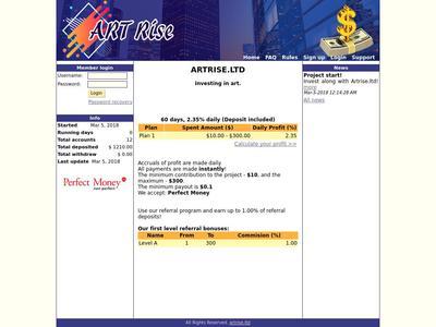 [SCAM] ARTRISE - artrise.ltd - Refback 80% - 41% en 60 días - Entrada 10$ Artrise.ltd