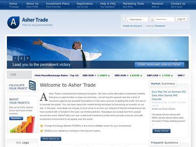 [PAGANDO] ashertrade.com - Min 10$ (5% - 7% Daily for 45 Calendar days) RCB 80% Ashertrade.com