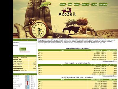 [SCAM] AXO ZOIL - axozoil.com - RCB 80% - Depues 1 dia - Min 1$ Axozoil.com