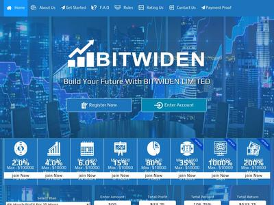 [SCAM] bitwiden.biz - Min 5$ (Hourly For 35 Hours) RCB 80% Bitwiden.biz