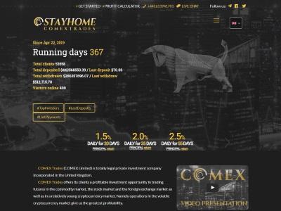 [PAGANDO] comextrades.com - Min 10$ (1,5% Daily For 20 Days) RCB 80% Comextrades.com