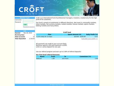 [PAYING] croft.fund - Min 10$ (0.21% Daily for 15 days) RCB 80% Croft.fund