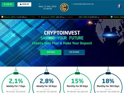 [PAYING] cryptoinvest.vip - Min 5$ (1% Daily for 20 days) RCB 80% Cryptoinvest.vip