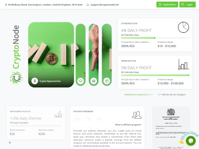 [PAGANDO] cryptonode.ltd - Min 10$ (4%-5% Daily for 50 days) RCB 80% Cryptonode.ltd