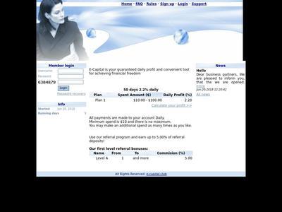 [SCAM] e-capital.club - Min 1$ (Hourly for 72 Hours) RCB 80% E-capital.club