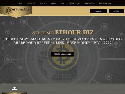 [SCAM] Ethour - Ethour.biz - Refback 80% - Hourly Por 25 Horas - Entrada 5$ Ethour.biz