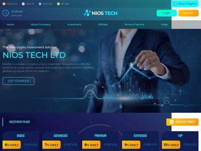 [SCAM] niostech.com - Min 10$ (6%-10% Daily Forever) RCB 80% Niostech.com