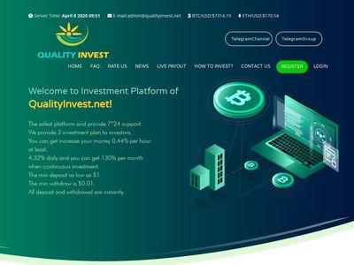 [SCAM] qualityinvest.net - Min 1$ (10.32-10.56% Daily for 10 days) RCB 80% Qualityinvest.net