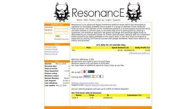 [SCAM] RESONANCE7 - resonance7.cc - Refback 80% - 12% por día durante 10 días - Entrada 5$ Resonance7.cc
