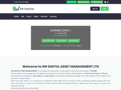 [SCAM] SW DIGITAL ASSETS - swdigitalassets.com - RCB 80% - 2.2% daily for 20 days - Min 10$ Swdigitalassets.com