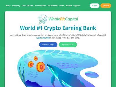 [PAGANDO] whalebitcapital.com - Min 10$ (1.60% Daily for 16 days) RCB 80% Whalebitcapital.com