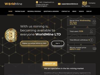 [SCAM] WORLD MINE - worldmine.io - RCB 80% - Free 120 GH/ s to start Mining - Min 0.001 BTC Worldmine.io