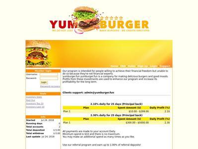 [SCAM] YUM BURGER - yumburger.fun - RCB 80% - 2.10% - 2.30% daily por 25 dias - Min 10$ Yumburger.fun